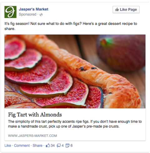 Basic Facebook ads have an image, a headline, post text, a description and a display URL.