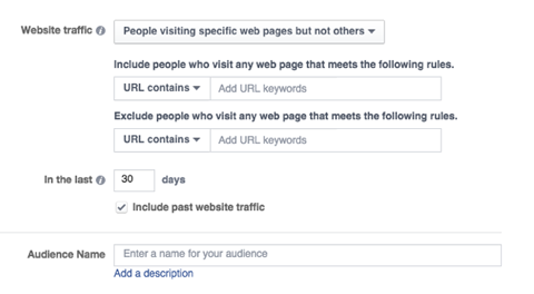 One of Facebook's new custom audience presets is aimed at people visiting specific web pages but not others