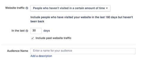 Facebook's other new preset for custom audiences is for people who haven't visited in a certain amount of time.